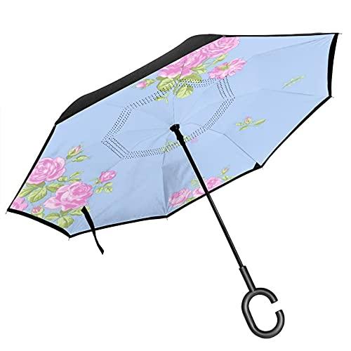 Diseño floral Característica azul cielo rosa flor rosa Ebay paraguas invertido de doble capa con mango en forma de C es adecuado para uso al aire libre bajo la lluvia