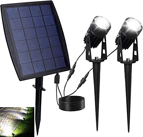 Solar Spot Lights Outdoor, LED Solar Landscape Spotlights, Solar Powered Wall Lights 2-in-1 Waterproof Solar Landscaping Light for Yard Garden Driveway Patio Lawn, Auto On Off Daylight