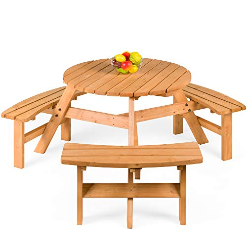 Best Choice Products 6-Person Circular Outdoor Wooden Picnic Table w/ 3 Built-in Benches, Umbrella Hole - Natural