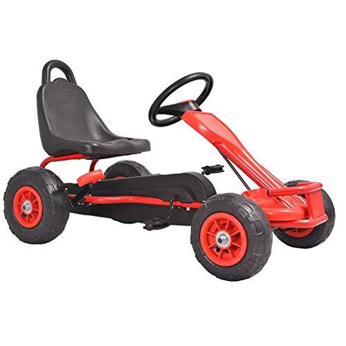 lyrlody- Kart - Kart para niños, con neumáticos de goma y pedales, apto para niños a partir de 3 años, 90 x 50 x 51 cm, rojo
