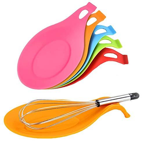 LWZko 6 Pezzi Porta Cucchiaio Cucina, Porta Cucchiaio Silicone, Poggia Cucchiaio Silicone Cucina, Silicone Forma Flessibile Mandorla Resistente Calore Resto Cucchiaio per Spatole, Cucchiai (6 Colori)