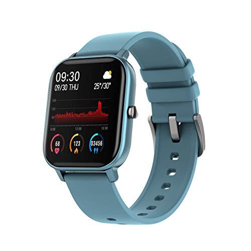 DCU TECNOLOGIC | Smartwatch | Reloj Inteligente Curved Glass | Pulsera de Actividad IP67 | Pulsómetro y Monitor de presión Arterial | Control del Ciclo Femenino | Multideporte (Azul)