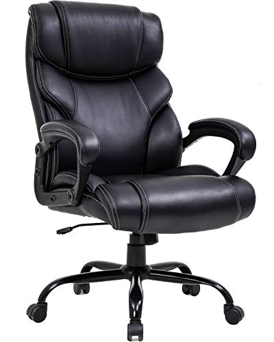 Big and Tall Office Chair 400lbs Wide Seat Ergonomic Desk Chair with Lumbar Support Arms High Back PU Leather Executive Task Computer Chair for Heavy People