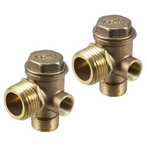 sourcing map Air Compressor Check Valve, G1/8'x Male G3/8'x Male G1/2' Thread, 3 Way Pneumatic Accessory, Brass for Central Pneumatic Air Compressor 2pcs
