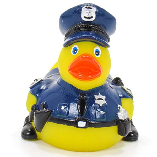 Ad Line Policeman First Responder Rubber Duck Bath Toy Mold-Free Child Safe