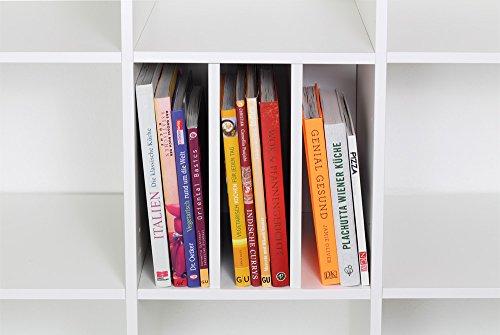 INWONA IKEA Kallax Expedit Regal Einsatz Schallplatten Aufbewahrung Schallplattenregal Vinyl Regaleinsatz vertikale Regalteilung auch für Bücher Fachteiler für 3 Einzelfächer 33,5 x 33,5 x 38 cm Weiß