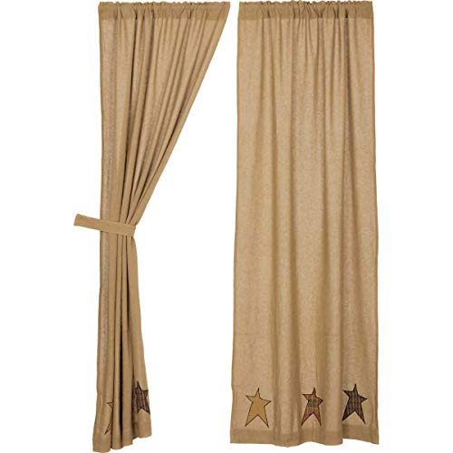 VHC Brands Stratton Burlap Applique Star Panels Set of 2 84x40 Country Curtains