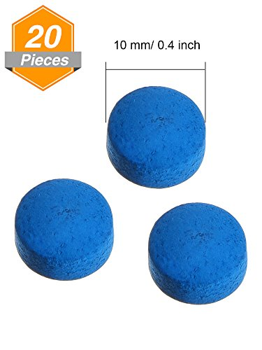 Gejoy 20 Pieces Cue Tips 10 mm Pool Billiard Replacement Tips with Storage Box for Pool Cues and Snooker, Blue