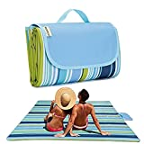 Picnic Blanket | Beach Mat|Picnic Blanket for Indoor and Outdoor, 80' x 57' Sandproof Waterproof Larger Mat for Beach, Travel, Camping, Hiking, Park Grass,Machine Washable, Foldable (Blue Line)