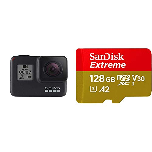 GoPro Hero7 - Action Camera 4K con Hypersmooth, Stabilizzazione video e Live streaming, Controllo vocale + SanDisk Extreme Scheda di Memoria microSDXC da 128 GB e adattatore SD