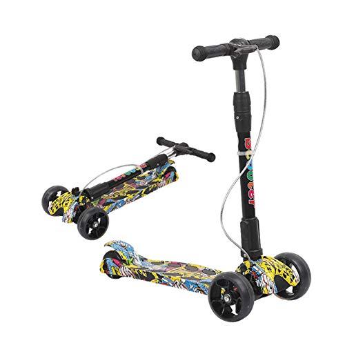 Motorino per bambini 3 ruote Calcio motorino Pieghevole rotelle a LED ricaricabili Maniglia regolabile in altezza 3-10 anni ragazzo e ragazza Freno a mano leggero musica,graffiti yellow,5cm wheel
