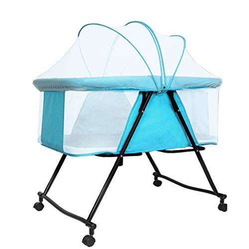 Cama plegable portátil para cuna de bebé, cama plegable portátil, cuna de viaje, multifuncional para bebé, enviar mosquiteros contra recién nacidos (color: azul claro)