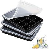 LessMo 3 Piezas Bandeja Cubitos de Hielo, Silicona Molde para Cubitos de Hielo con Tapa, 45 Cubitos, Fácil de Liberar, Reutilizable, Utilizado para Bebidas Refrigeradas, Comida para Bebés, Negro
