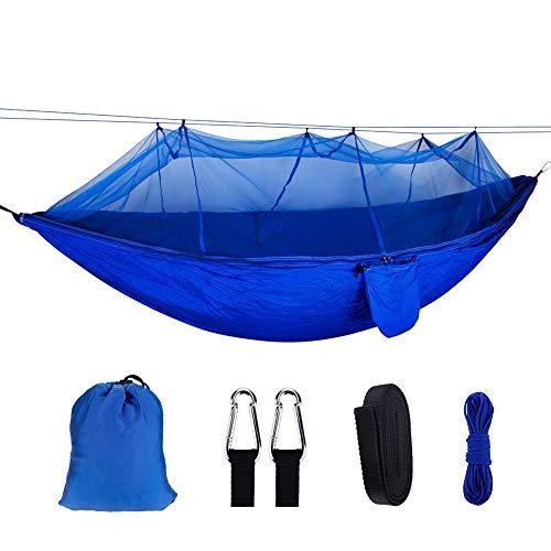ZXGQF Camping Hamac Set avec Moustiquaire, Portable Outdoor Léger Nylon Hamac- capacité 300Kg Léger avec Sac de Transport, pour randonnées, Camping, extérieur, Jardin 260 * 140CM (O)