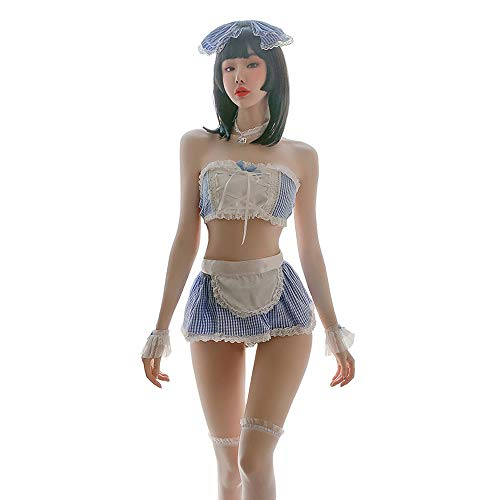 SINMIUANIME Sexy Nachthemd für Damen, japanisches Cosplay-Dienstmädchen-Outfit, Cosplay-Dessous - Blau - Einheitsgröße