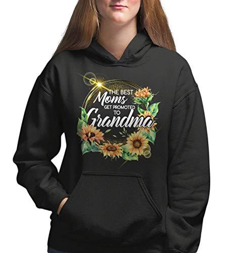 Women's Fashion Hoodie - The Best Moms Get Promoted to Grandma Proud New Grandma Gift - Fleece Pullover Hoodie, Black, 5XL