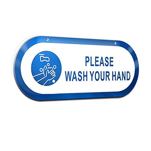 Please Wash Your Hand Signs Plastic Warning Sign Acrylic Safety Sign with 3M Gel 4×10 Inches Wall Hanging Notice for Public Places