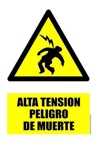 akrocard Cartel Resistente PVC - Alta Tension Peligro DE Muerte - Señaletica de Aviso - Ideal para Colgar y Advertir al transeúnte