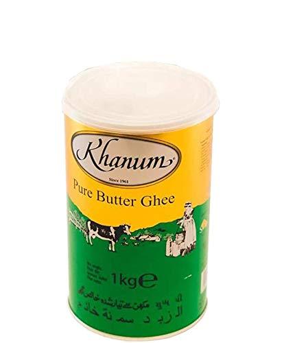 Khanum Burro Ghee | Burro Chiarificato | Ingrediente Segreto della Cucina Indiana | Ideale per Rosolare, Brasare e Friggere | Naturale | Senza Lattosio | Paleo | Senza sale | Barattolo da 1KG