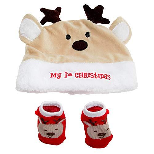 Nursery Time - Set calzini e berretto My 1st Christmas per neonati (Taglia unica) (Crema/Bianco/Rosso)