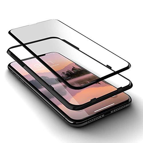 GLAZ geeignet für iPhone XS Max Panzerglas, Schutzfolie, Curved, Mit Applikator, Staubfrei, Notch Unsichtbar, Premium Panzerfolie, Full Cover Displayschutz, 100% Passgenau, Volle Abdeckung