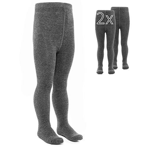 LaLoona Leotardos bebe Pack 2 Ud. - Medias elásticas para bebé niña y niño con cintura ancha y alto contenido de algodón - 86/92 (12-24 meses) - gris oscuro