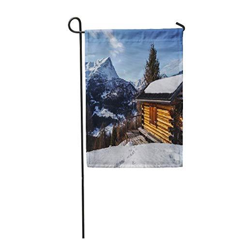 12,5 'x 18' Drapeau de Jardin Bleu Journal cabane de Montagne dans Les Alpes d'Autriche Chalet Alpin Maison décor extérieur Double Face...
