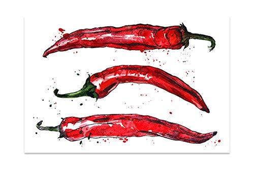 """Cuadros Lifestyle Küchen Spritzschutz """"Red Chilli""""   Küchenrückwand   Alu-DiBond   Fliesenschutz für den Herd und Spüle   Küche   Küchenfliesen   Fliesenspiegel   Rückwand, Größe:60 x 40 x 0.3 cm"""