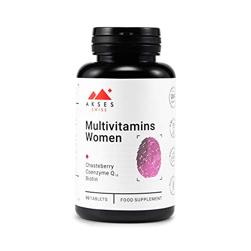 AKSES SWISS Multivitamins Women Supplement | Rich in Q10 and Chasteberry | Composition of 24 Vitamins and Minerals | 90 Tablets | 3 Months Supply