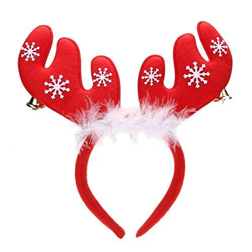 NYKKOLA Haar Hoop Xmas Haar Accessoire Hoofddeksels Kerstmis Hoofdband Holiday Party benodigdheden Kostuum Geschenken - Een maat Past de meeste antler with bell