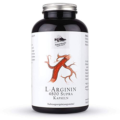 Kräuterhandel Sankt Anton - L-Arginin 4800 Supra Kapseln - 300 Kapseln - Kombination aus Arginin Base und Arginin HCL und Vitamin C - Deutsche Premium Qualität
