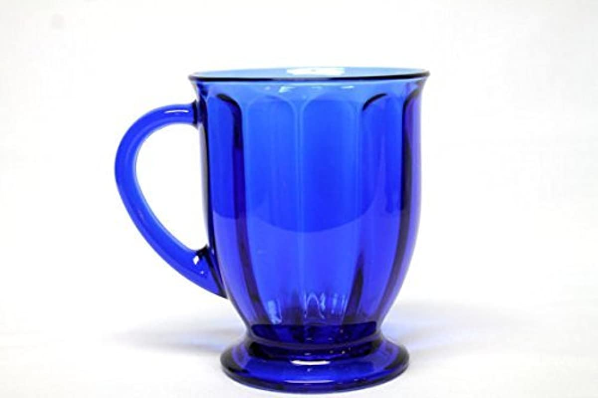 Anchor Hocking Cafe America Oversized Coffee Mug Scalloped Optic Blue