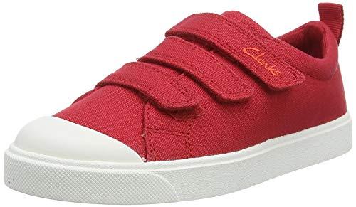 Clarks City Vibe K, Scarpe da Ginnastica Basse Unisex-Bambini, Rosso (Red Canvas Red Canvas), 29 EU