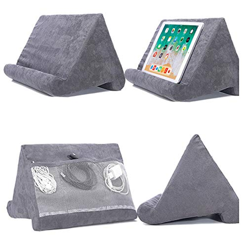 Cushion Stand Tablet Cushion with Net Pocket Multi-Angle Soft Tablet Pillow Adjustable 3 Viewing Angle, for Lap, Sofa and Bed - Universal Phone & iPad Stands, eReaders, Magazines, Kindle (grey)