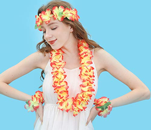JSSHI Lush Hawaiian Headpiece,Hawaiian Flower Leis Jumbo Necklace Bracelets Headband Set with Leaf for Hawaiian Luau Party Decoration Supplies (with Green Leaves,Orange)