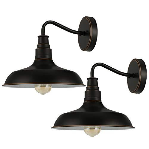 DEWENWILS 2-Pack Indoor Outdoor Wall Sconces, Gooseneck Barn Light, E26 Socket, Vintage Wall Light for Kitchen Sink, Farmhouse,Porch, Garage, Bronze, ETL Listed