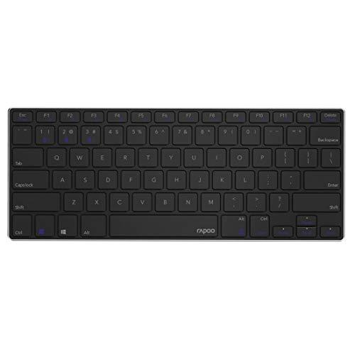 Rapoo E6080 kabellose Bluetooth Tastatur, kompakt, flaches Aluminium-Design, wiederaufladbarer Akku, DE-Layout QWERTZ, schwarz