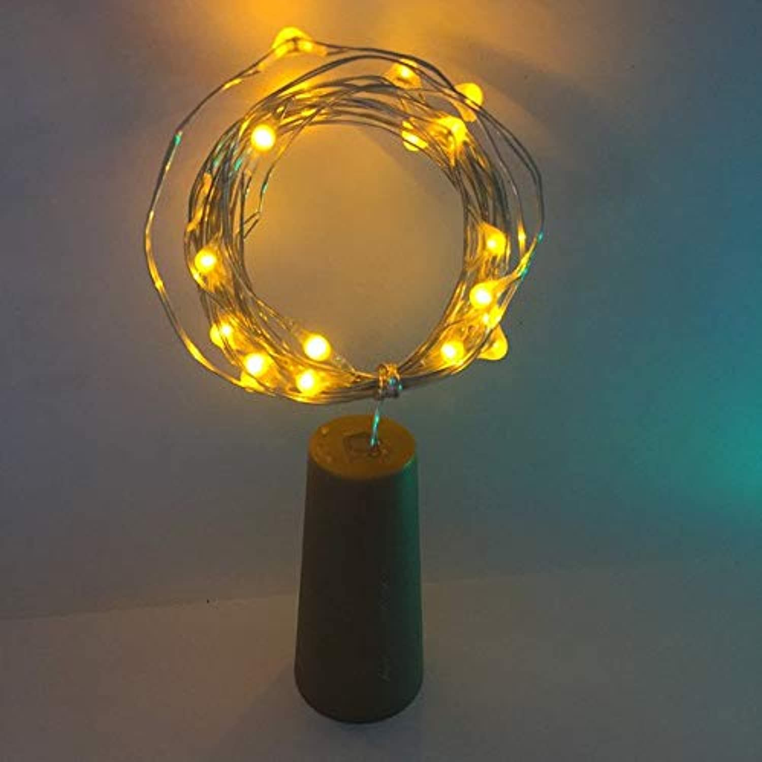 Yellow   6PCS2m 20LED Copper Wire String Light with Bottle Stopper for Glass Craft Bottle Valentines Wedding Decoration Lamp Party