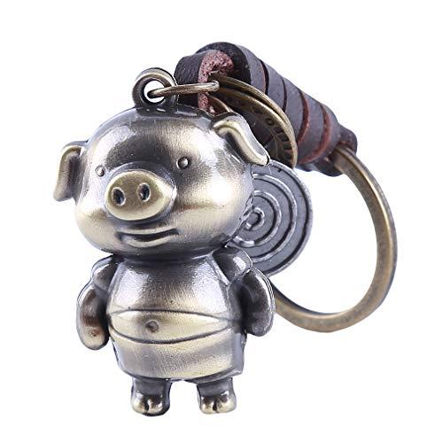 KUHRLRX - Llavero de cerdo de dibujos animados de aleación, diseño de piel trenzada, ideal como regalo de cumpleaños