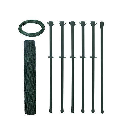 Arvotec Hasendraht/Hühnerdraht Set 6-Eck Geflecht, grün, H:1000mm, 10m, 13x13x1,0 inkl. Pfosten & Spanndraht