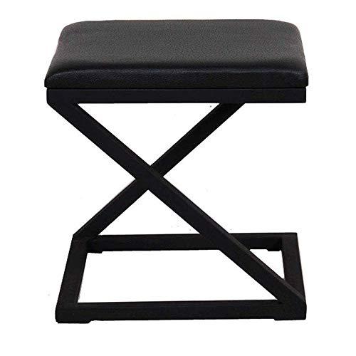 N/Z Tägliche Ausrüstung Ruhe Kleiner Fußschemel Hocker Schminktisch Quadratischer Hocker Mode Esszimmerstuhl Einfacher Kaffeebarhocker Sofa Bekleidungsgeschäft Umkleideraum Hocker schwarz Metallbeine