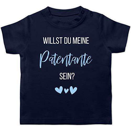 Baby Geschenke zur Geburt - Willst du Meine Patentante Sein? Babyblau - 3/6 Monate - Navy Blau - Tshirt willst du Meine Patentante Werden - BZ02 - Baby T-Shirt Kurzarm