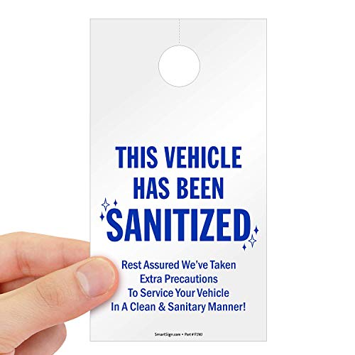 """SmartSign """"This Vehicle Has Been Sanitized"""" Hang Tag 