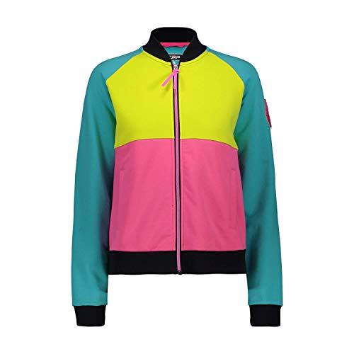 CMP 30d8046 Sweat-Shirt Stretch pour Femme avec Fermeture Éclair intégrale et Poches XXL Céramique