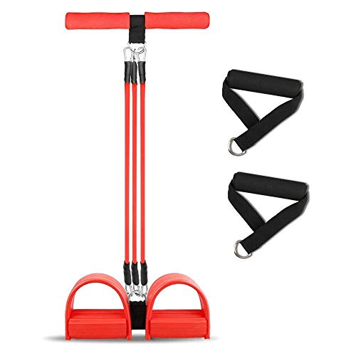 Home Gyms Fitness Pedal Exerciser Tummy Trainer 4 Tubes Fußpedal Pull Rope Sit-up Bodybuilding Expander Pedal Resistance Band for Pilates, Fitness, Yoga und andere Trainings