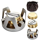 OrdLive Portable Mini Alcohol Stove with Aluminium Stand, Mini Brass Spirit Burner for Camping Hiking, BBQ, Outdoor to Boil Water, Make Coffee - Gray