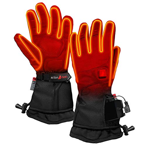 ActionHeat 5V Premium Heated Glove – Men, Battery Heated Gloves w/ 3-Heat Settings, Extended Gauntlet, Touch-Control, Rechargeable Electric Gloves