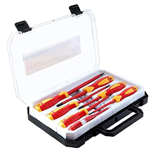 Kit de herramientas del destornillador de la mano aislada 1000V Phillips ranurado destornilladores con verificador de seguridad lleva la caja de electricista rojas manual de hardware Suministros
