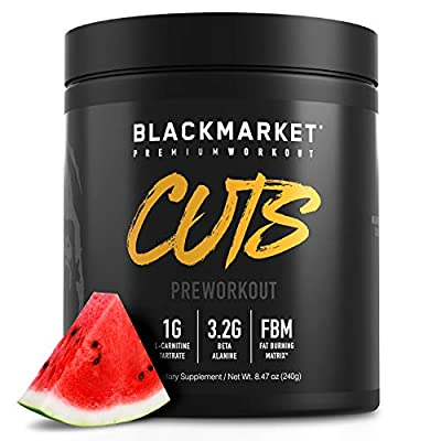 BLACKMARKET CUTS Thermogenic Pre Workout - Preworkout Energy Drink for Men and Women 30 Servings of Watermelon Flavor - Creatine Free Pre-Workout Drink Powder