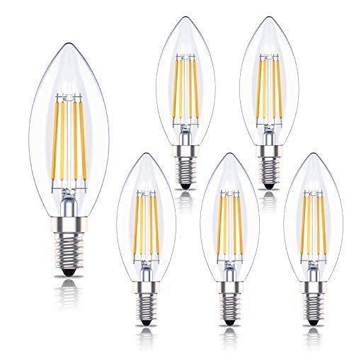 Huoqilin E14 Dimmbare LED Glühbirnen, 4W C35 Ses Kerzenlampen mit kleiner Schraube, Warmweiß 2700K, 6 Packungen